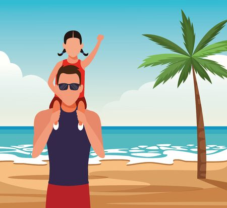 avatar man with a little girl on his shoulders at the beach, colorful design. vector illustration