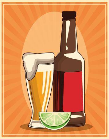 beer bottle and glass with lemon slice over retro orange background, colorful design , vector illustration Ilustracja