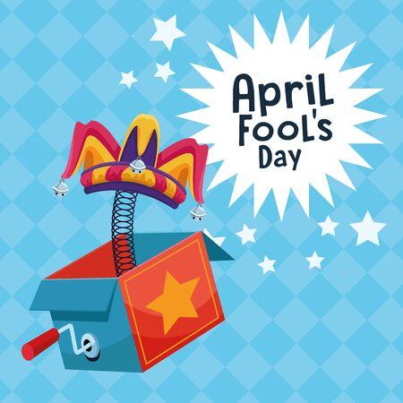 April fools day surpise box with stars cartoons vector illustration graphic design Фото со стока - 134863937