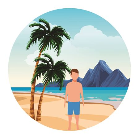 summer vacation man boy at beach cartoon vector illustration graphic design