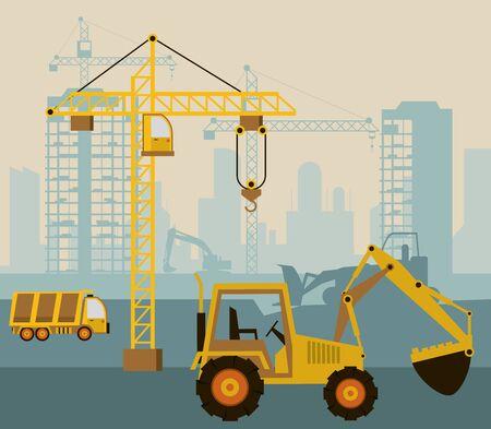 En escena de construcción con excavadora, diseño de ilustraciones vectoriales