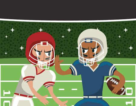 american football players playing characters vector illustration design Banque d'images - 134863940