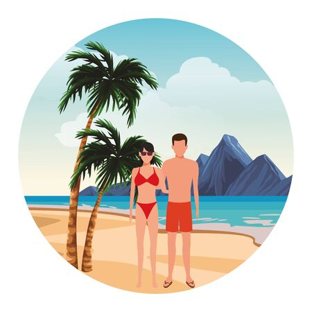 summer vacation family couple at beach cartoon vector illustration graphic design Foto de archivo - 134927018