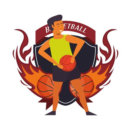 young man athlete playing basketball with balloon vector illustration design  イラスト・ベクター素材