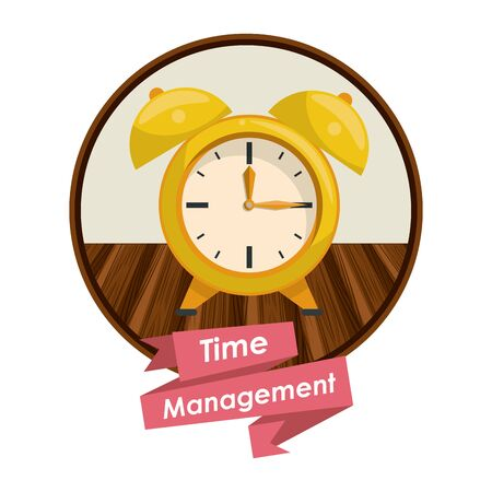 Time management concept and symbols with ribbon banner vector illustration graphic design Ilustracja