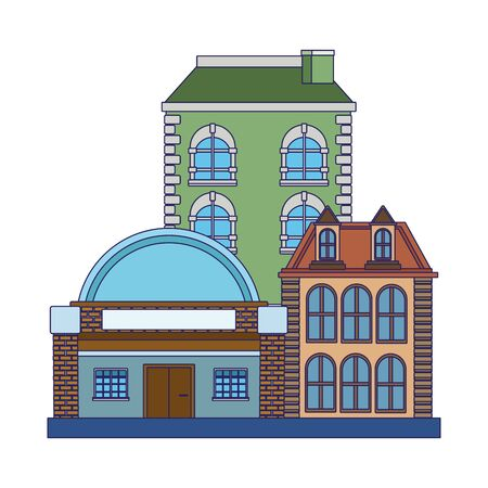 old buildings icon over white background, vector illustration