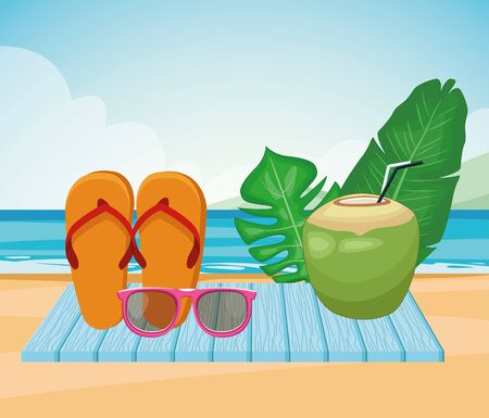 sandals, coconut drink and tropical leaves at the beach, colorful design , vector illustration Ilustracja