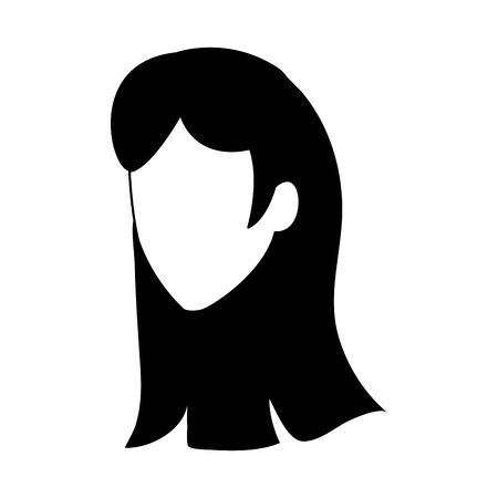 avatar woman with long hair icon over white background, vector illustration