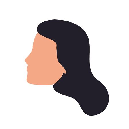 default woman face icon over white background, colorful design. vector illustration