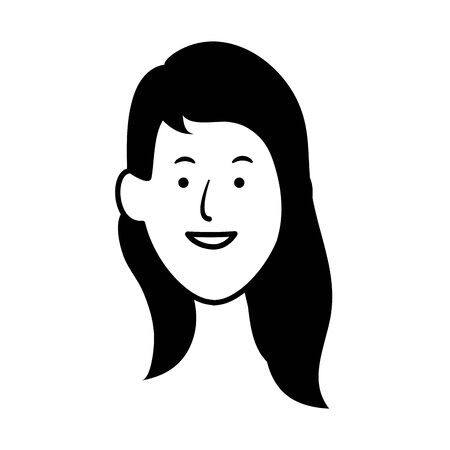 woman with long hair icon over white background, vector illustration