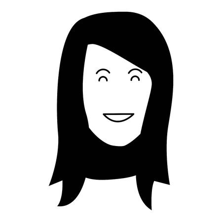 cartoon adult woman face icon over white background, black and white design. vector illustration Ilustracja