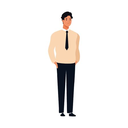 cartoon young man wearing executive clothes and tie over white background, vector illustration Ilustracja
