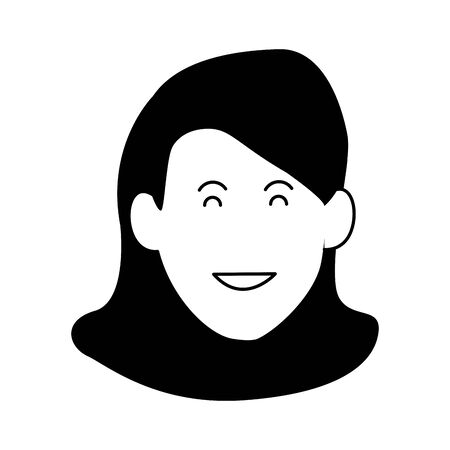 cartoon woman smiling icon over white background, black and white design. vector illustration