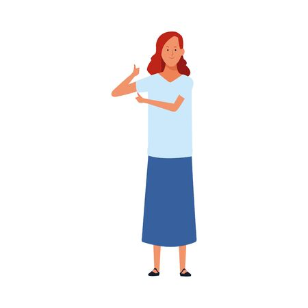 adult woman standing icon over white background, vector illustration