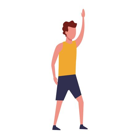 avatar man with sport clothes over white background, vector illustration Illustration