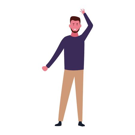 cartoon happy man standing icon over white background, colorful design. vector illustration