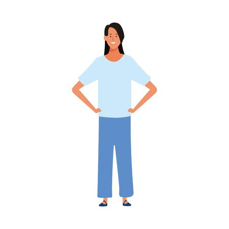 cool girl standing icon over white background, vector illustration