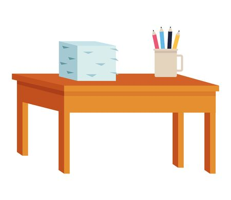 Desk with documents piled and pencils in cup ,vector illustration graphic design.