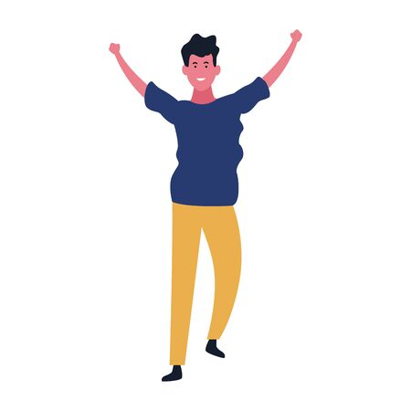 cartoon man with hands up over white background, colorful design. vector illustration