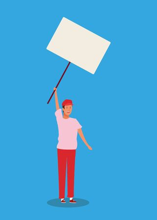 cartoon man standing with blank poster over blue background, colorful design. vector illustration