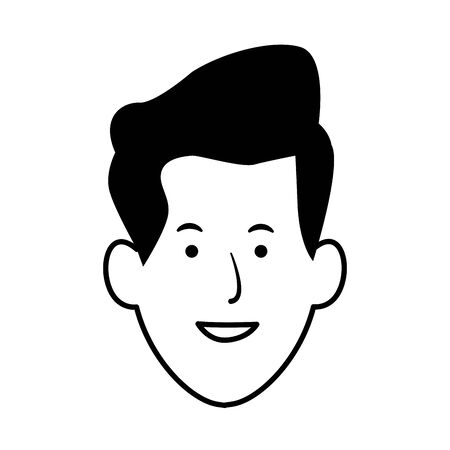 man smiling face icon over white background, vector illustration