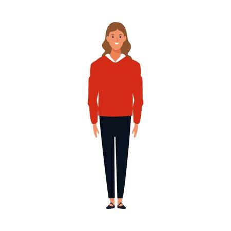 woman wearing casual clothes icon over white background, vector illustration
