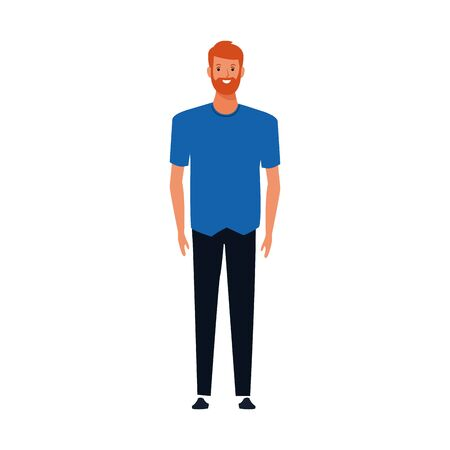 cartoon man with beard standing over white background, vector illustration