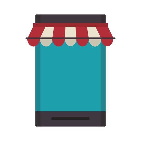 delivery commerce online smartphone sales cartoon vector illustration graphic design
