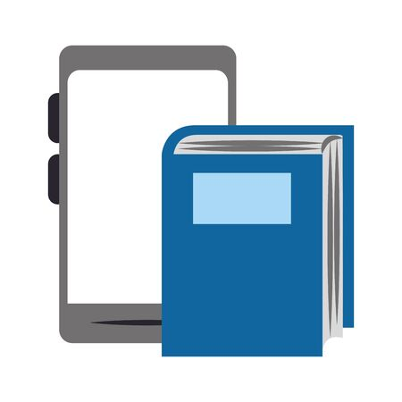 book and tablet over white background, vector illustration