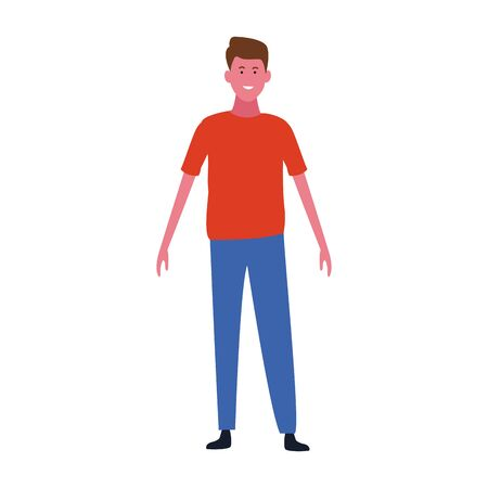 happy man wearing casual clothes over white background, vector illustration Ilustracja