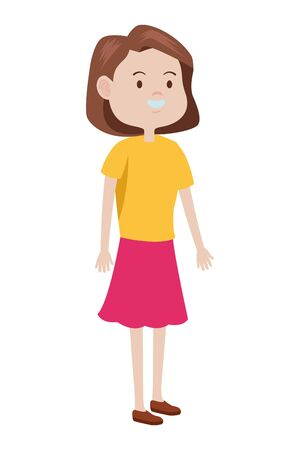 Teenager woman greeting and smiling with casual clothes cartoon ,vector illustration graphic design. Ilustracja