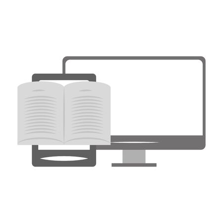 computer and ebook icon over white background, vector illustration