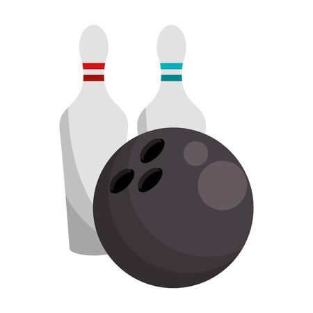 bowling ball and pins icon over white background, vector illustration Ilustracja