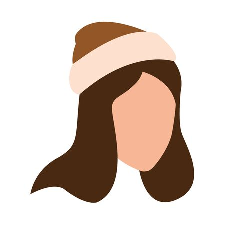 happy young girl with hat autumn head vector illustration design 일러스트