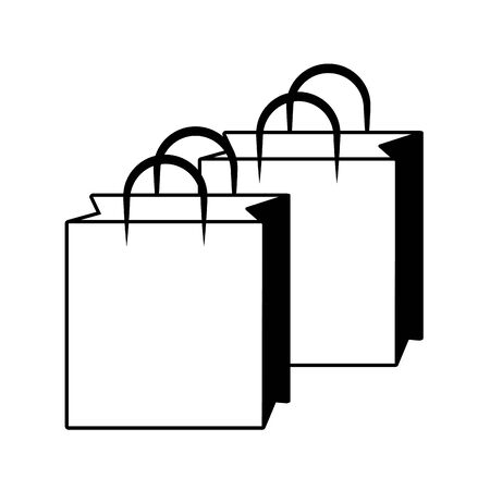 shopping bags cartoon vector illustration graphic design in black and white