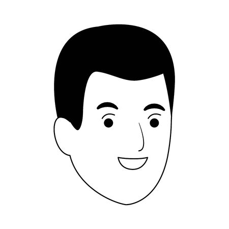 man smiling cartoon icon over white background, vector illustration