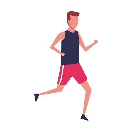 avatar man with sport clothes running over white background, colorful design. vector illustration