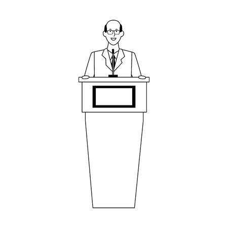 cartoon business old man behind a podium over white background, vector illustration