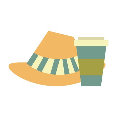 accessories for tourism and vacations with coffee cup and hat isolated Vector design illustration