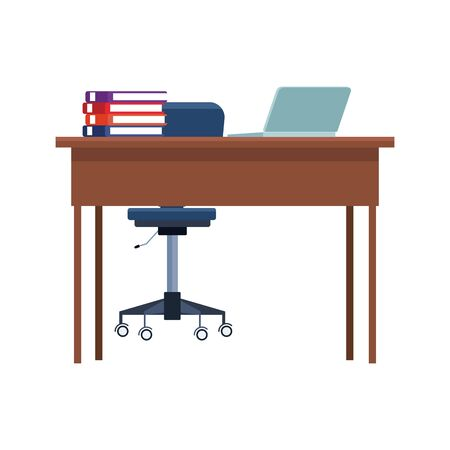 desk with books and computer icon over white background, vector illustration