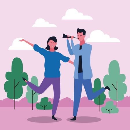 cartoon happy woman and man with spyglass in the park over purple background, colorful design. vector illustration