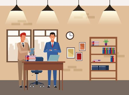 cartoon Two businessmen partners working in the office, colorful design. vector illustration 일러스트