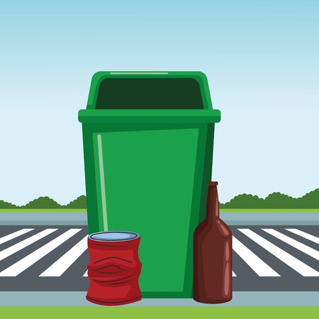 plastic garbage can, crumpled aluminum can and glass bottle icon cartoon outdoor next to the street and some shruberry in the horizon vector illustration graphic design