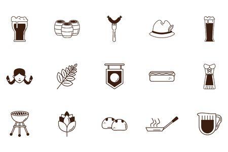 bundle of oktoberfest celebration set icons vector illustration design Stock Illustratie