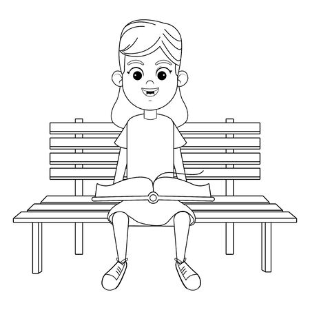 young girl sitting on a wooden bench reading a book avatar cartoon character in black and white vector illustration graphic design Stock Illustratie