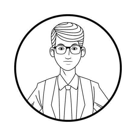businessman wearing suit with glasses avatar cartoon character profile picture portrait round icon black and white vector illustration graphic design Illustration