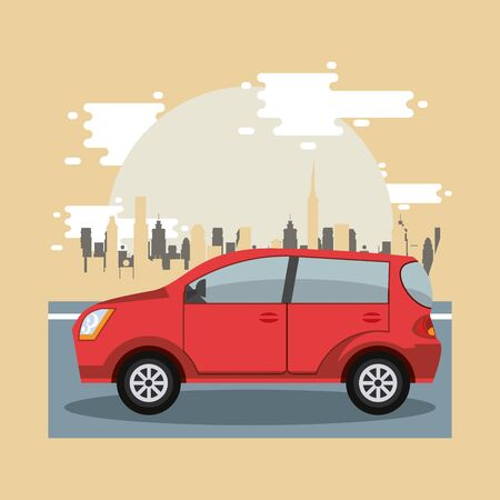 Car riding in the city scenery with buildings, vehicle and cityscape. vector illustration graphic design