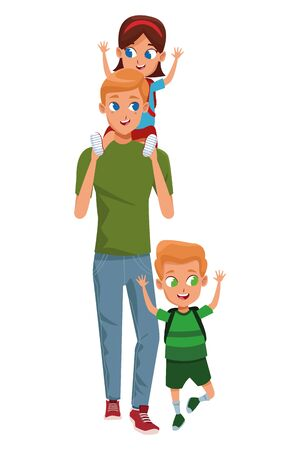 Family single father with kids holding school backpack vector illustration graphic design Vetores