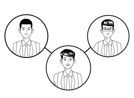 three businessmen afroamerican wearing suit and glasses and smiling avatar cartoon character profile picture portrait in round icons black and white vector illustration graphic design