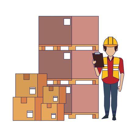 Warehouse worker with pallets and boxes vector illustration Ilustração